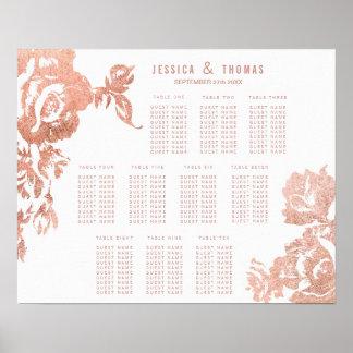 Elegant Modern Rose Gold Floral Seating Chart