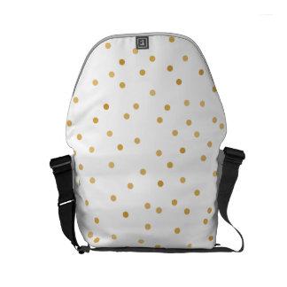 Elegant Modern White and Gold Confetti Dots Commuter Bag