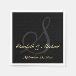Elegant Monogram Black Golden Wedding Paper Napkin