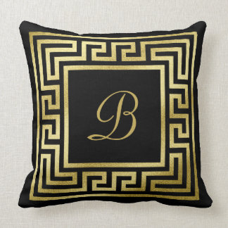 Elegant Monogram Gold Glitter Greek Key Black Throw Pillow