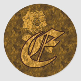 Elegant Monogram Initial E Gold Peony Sticker