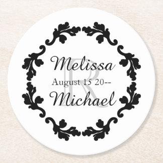 Elegant monogram wedding black white gray round paper coaster