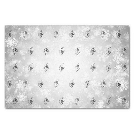 Elegant Monogrammed Silver Winter Wonderland Tissue Paper