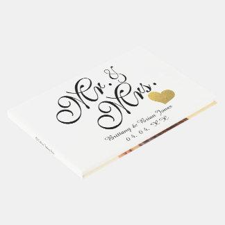 Elegant Mr & Mrs Script Gold Heart Photo Wedding Guest Book