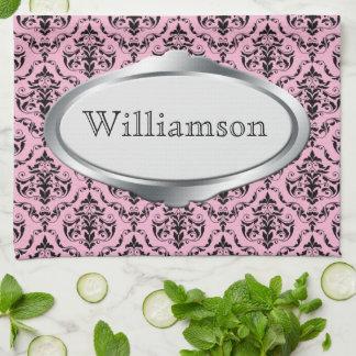 Elegant Nameplate Pink Damask Kitchen Towel