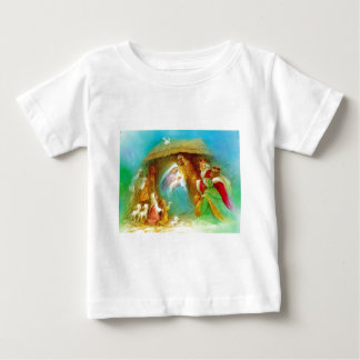 Elegant Nativity scene, Mary Jesus Joseph Baby T-Shirt