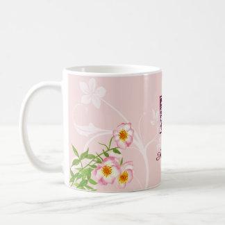Elegant Nature Theme Rose Flower Custom Name Basic White Mug