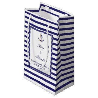 Elegant Nautical Wedding Navy Stripes Small Gift Bag