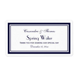 Elegant Navy Blue Framed H Water Bottle Label Shipping Label