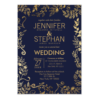 Elegant Navy Blue Gold Floral Wedding Invites