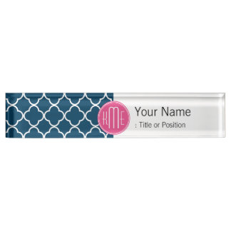 Elegant Navy Blue Quatrefoil with Pink Monogram Name Plate