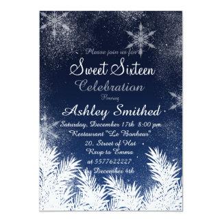 Elegant Navy Blue Snowflake Winter Sweet 16 13 Cm X 18 Cm Invitation Card