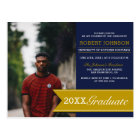 Elegant Navy & Gold Banner Photo Graduation Party Postcard