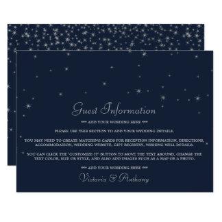 Elegant Navy & Silver Falling Stars Wedding Detail Card