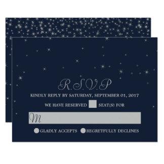 Elegant Navy & Silver Falling Stars Wedding RSVP Card