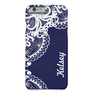 Elegant Navy & White Lace with Personalized Name Barely There iPhone 6 Case