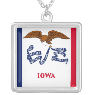 Elegant Necklace with Flag of the Iowa