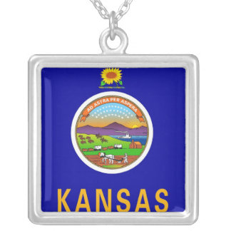 Elegant Necklace with Flag of the Kansas