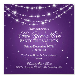 Elegant  New Years Eve Sparkling Chain Purple Card
