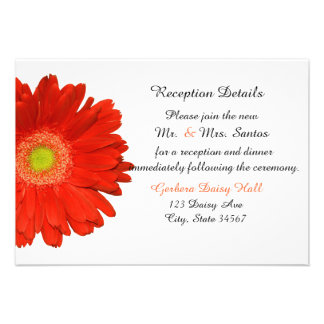Elegant Orang Gerbera Daisy Wedding Reception Card