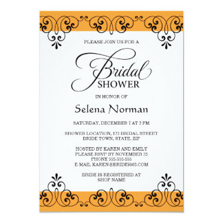 Elegant orange and black damask bridal shower 13 cm x 18 cm invitation card