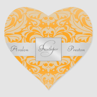 Elegant Orange Damask Heart Wedding Sticker