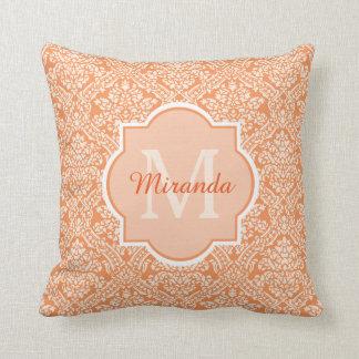 Elegant Orange Damask Pattern Monogram and Name Cushion