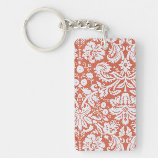 Elegant Orange Damask Single-Sided Rectangular Acrylic Key Ring