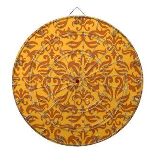 Elegant Orange Floral Damask Pattern Dartboards