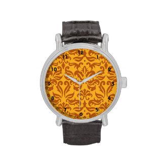 Elegant Orange Floral Damask Pattern Wristwatches