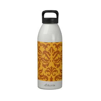 Elegant Orange Floral Damask Pattern Water Bottle