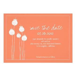 Elegant Orange Floral Save the Date Personalized Announcement