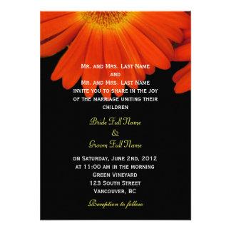 Elegant orange gerbera daisy flowers wedding custom invitations