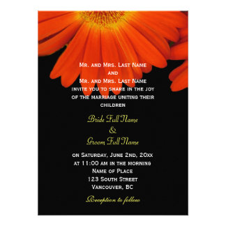 Elegant orange gerbera daisy flowers wedding custom invites