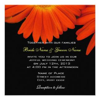 elegant orange gerbera daisy wedding invitation invites