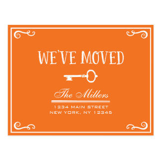 Elegant Orange Key Moving Announcement Postcard
