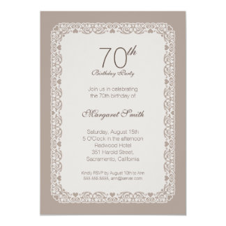 Elegant ornamental 70th birthday party Invitations