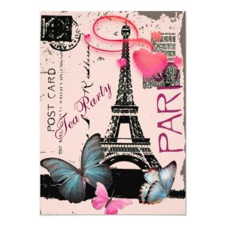 "elegant paris eiffel tower vintage wedding 5"" x 7"" invitation card"