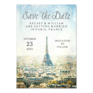 Elegant Paris View Eiffel Tower Save the Date Magnetic Invitations