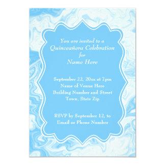 Elegant Pastel Blue Quinceanera 13 Cm X 18 Cm Invitation Card