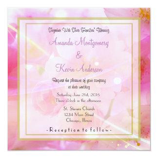 "Elegant Pastel Pink Cherry Blossom Flowers Wedding 5.25"" Square Invitation Card"