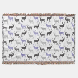 Elegant Pattern of Polka Dot and Striped Deer Throw Blanket