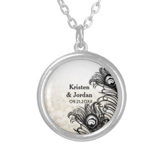 Elegant Peacock Feathers Bokeh Wedding Silver Plated Necklace