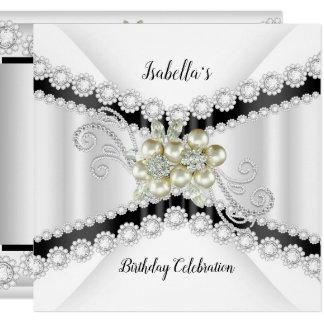 Elegant Pearl Black White Diamond Birthday Party Card