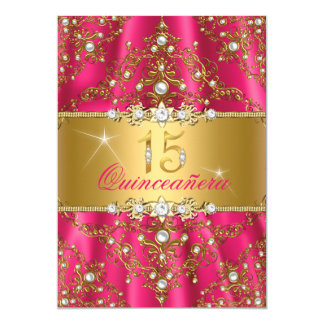 Elegant Pearl Damask Gold & Pink Quinceanera Card