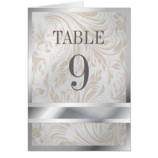 Elegant Pearl Silver Regal Wedding Table Number