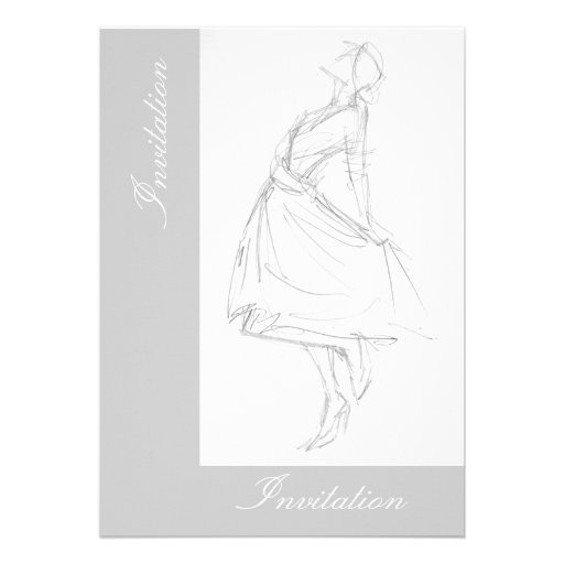 Elegant pencil drawing of woman in dress custom invites