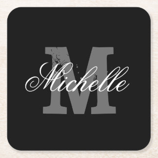 Elegant personalized monogram paper coasters