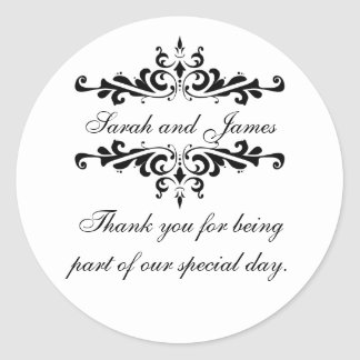 Elegant Personalized Thank You Wedding Stickers