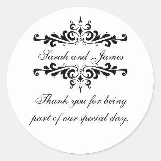 Elegant Personalized Thank You Wedding Stickers